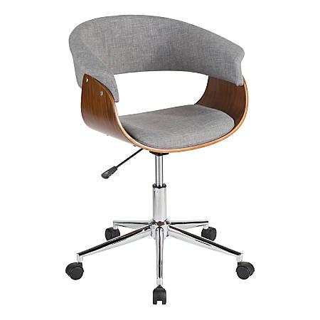 LumiSource Vintage Mod Mid-Century Modern Mid-Back Chair, Light Gray/Walnut/Chrome