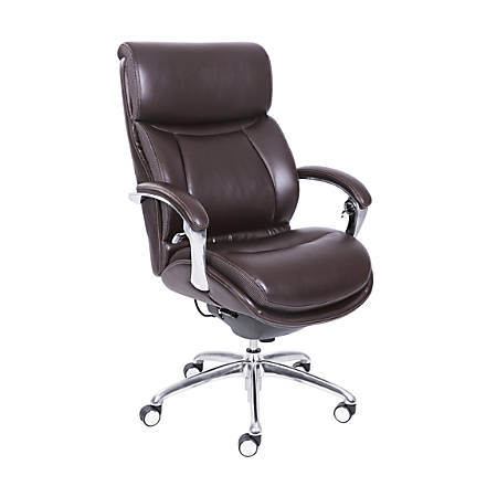 Serta® iComfort i5000 Bonded Leather Executive High-Back Chair, Chocolate/Silver