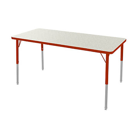 "Marco Group 30"" x 72"" Activity Table, Rectangular, 16 - 24""H, Gray Glace/Red"