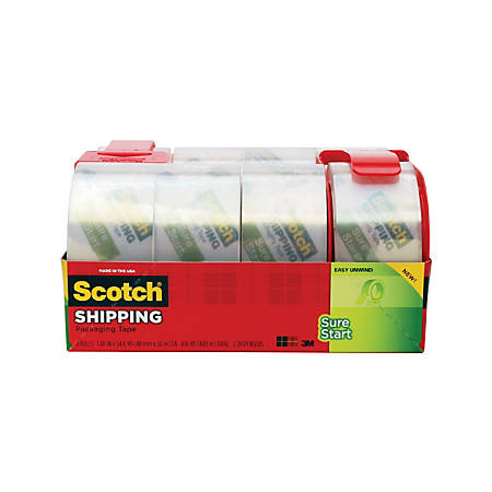 """Scotch® Sure Start Shipping Tape With 2 Dispensers, 3"""" Core, 1 7/8"""" x 54.6 Yd., Pack Of 8"""