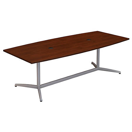 "Bush Business Furniture 96""W x 42""D Boat Shaped Conference Table with Metal Base, Hansen Cherry, Premium Installation"