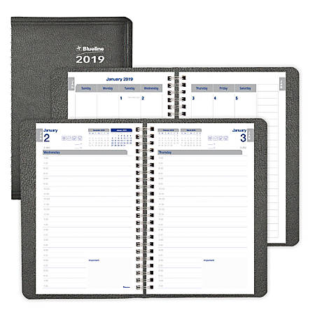 """Blueline® Net Zero Carbon Daily Planner, 8"""" x 5"""", 50% Recycled, FSC Certified, Black, January to December 2019"""