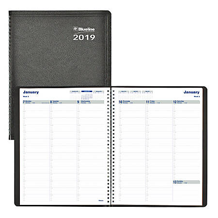 """Blueline® Net Zero Carbon™ Weekly Planner, 8 1/2"""" x 11"""", 50% Recycled, FSC Certified, Black, January to December 2019"""