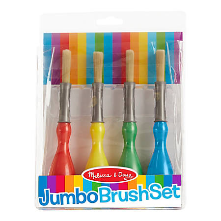 Melissa & Doug Jumbo Paint Brushes, Round, Natural Hair, Pack Of 4