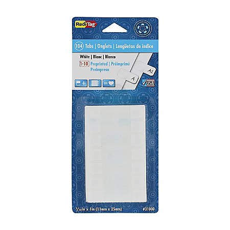 Redi-Tag® Permanent Index Tabs, Blank, White, Pack Of 104 Tabs