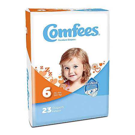 Attends® Comfees® Baby Diapers, Size 6, White, Pack Of 23