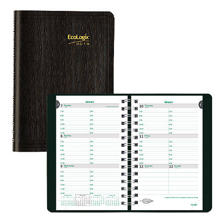 """Brownline® EcoLogix® Weekly Planner, 8"""" x 5"""", 100% Recycled, FSC Certified, Black, January to December 2019"""