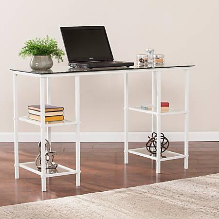 Southern Enterprises Aiden Metal Glass Writing Desk, White