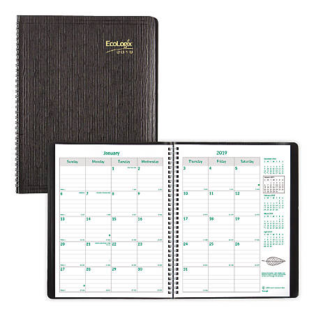"""Brownline® Ecologix® 14-Month Monthly Planner, 11"""" x 8 1/2"""", 100% Recycled, FSC Certified, Black, December 2018 to January 2020"""