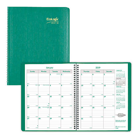 """Brownline® Ecologix® 14-Month Monthly Planner, 11"""" x 8 1/2"""", 100% Recycled, FSC Certified, Green, December 2018 to January 2020"""