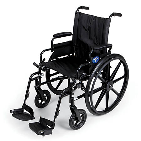 "Medline Excel K4 Extra-Wide Lightweight Wheelchair, Swing Away, 20"" Seat, Gray"