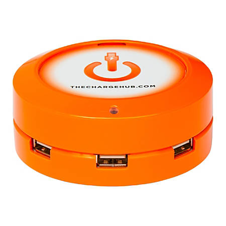 ChargeHub X3 3-Port USB Charger, Orange, CRGRD-X3-007