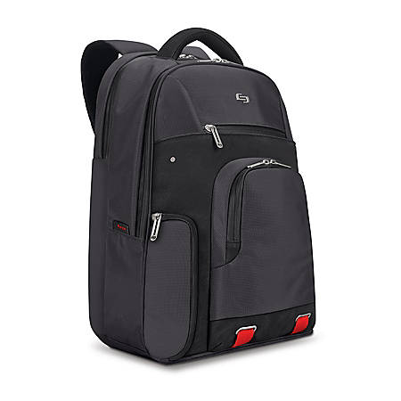"Solo Stealth Backpack With 15.6"" Laptop Pocket, Black/Red"