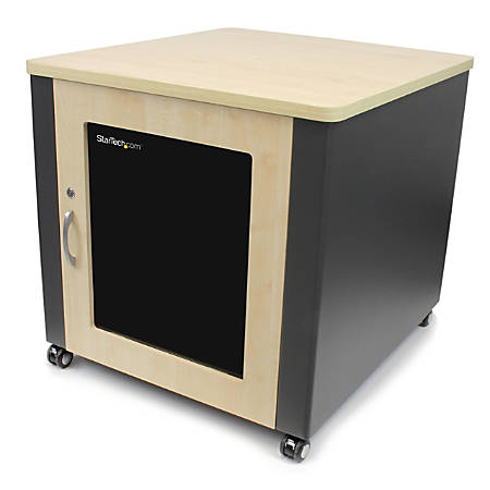 "StarTech.com 12U Rack Enclosure Server Cabinet - 21.5 in. Deep - Soundproof - Wood Finish - For Server, A/V Equipment - 12U Rack Height x 18.30"" Rack Width x 21.50"" Rack Depth - Floor Standing - 3 Fan(s) - Wood, Tinted Glass, Steel, Steel"