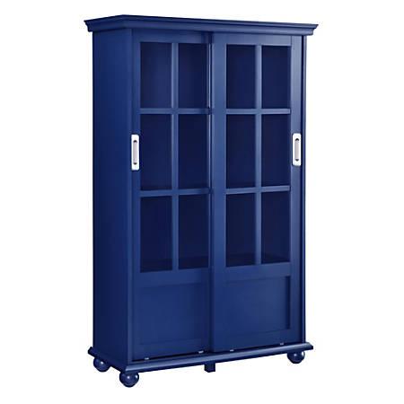 Ameriwood Home Aaron Lane 4 Shelf Bookcase With Sliding Gl Doors Blue Item 7538451