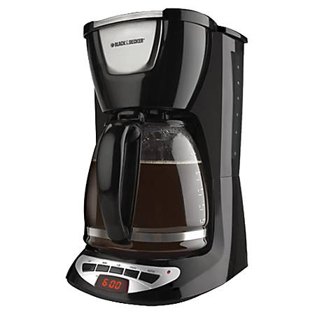 Black & Decker 12-Cup Programmable Coffeemaker With Glass Carafe, Black/Stainless Steel, DCM100B