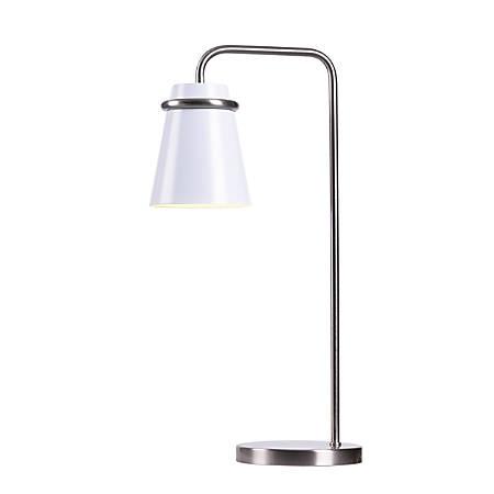 "Kenroy Home Levi Desk Lamp, 13-1/2""H, White Shade/Brushed Steel Base"