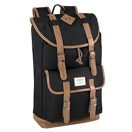 """Trailmaker Buckled Backpack With 17"""" Laptop Pocket, Black/Brown"""