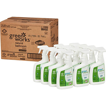 Green Works Bathroom Cleaner Spray - Spray - 0.19 gal (24 fl oz) - 12 / Carton