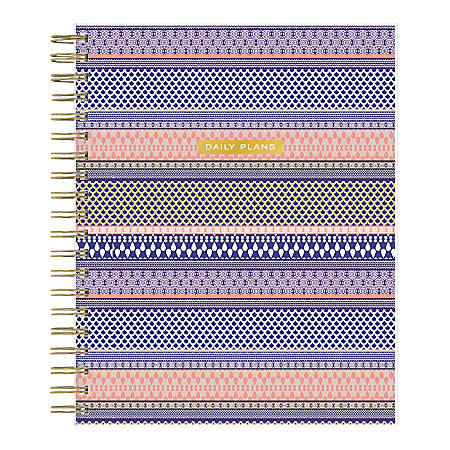 """Blue Sky™ Trina Turk Daily/Monthly Wirebound Planner, 8"""" x 10"""", El Camino Real Stripe, January To December 2020, 117505"""