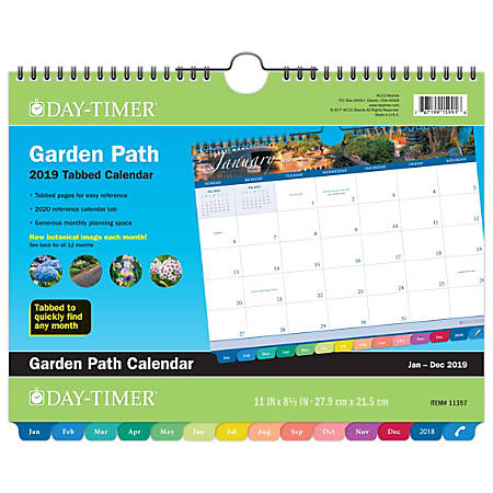 "AT-A-GLANCE® Day-Timer® Garden Path Tabbed Monthly Wall Calendar, 11"" x 8 1/2"", January to December 2019"