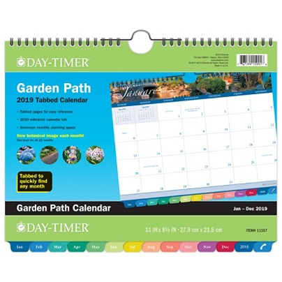at a glance day timer garden path tabbed monthly wall calendar 11 x