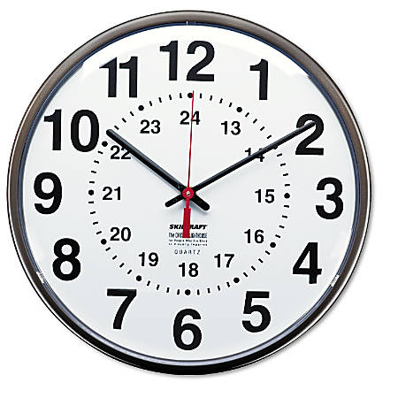 "SKILCRAFT® 24-Hour Clock, 12"" Diameter, Dark Brown (AbilityOne 6645-01-342-8199)"