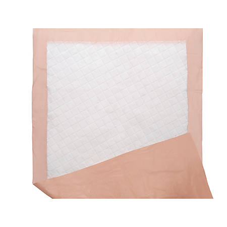 """Protection Plus Polymer Disposable Underpads, 27"""" x 70"""", Peach, 5 Per Bag, Case Of 15 Bags"""
