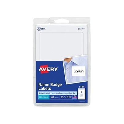 Avery® Self-Adhesive Name Badges, Plain White, 2 Labels Per 4