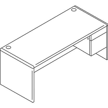 HON® 10700 Series™ Laminate Single-Pedestal Desk, Pedestal On Right, Mahogany