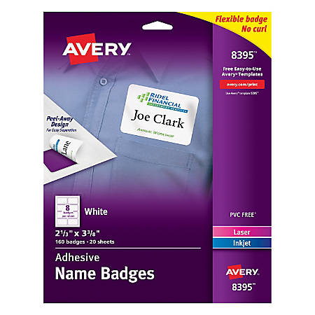 Avery Flexible Name Badge Labels 2 13 X 3 38 White Box Of 160 By