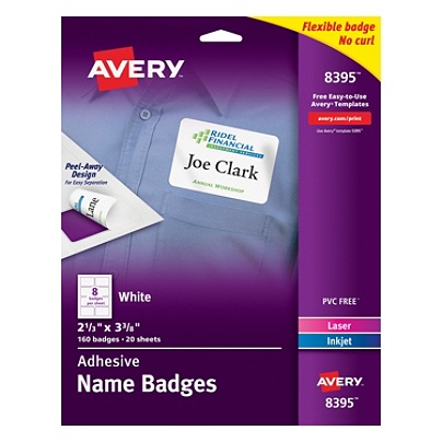 Avery® Flexible Name Badge Labels, 2 1/3