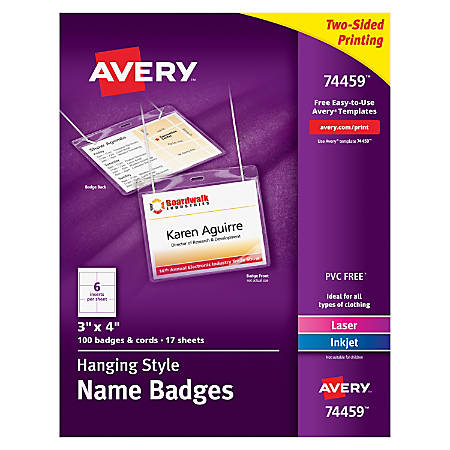 Avery hanging name badge kit 3 x 4 box of 100 by office depot print avery hanging name badge kit 3 saigontimesfo