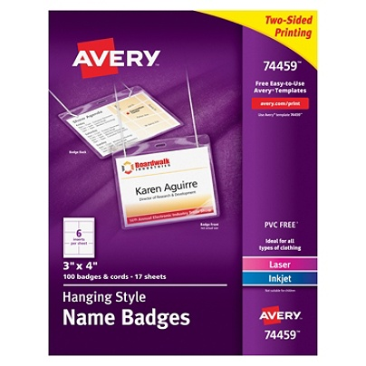 avery hanging name badge kit 3 x 4 box of 100 by office depot officemax