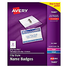 Avery Clip Style Name Badges Top