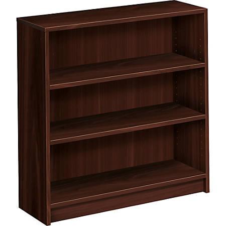 HON® 1870-Series Laminate Bookcase, 3 Shelves (2 Adjustable), Mahogany