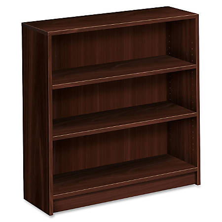 HON® 1870-Series Laminate Bookcase, 3 Shelves (2 Adjustable), Mahogany