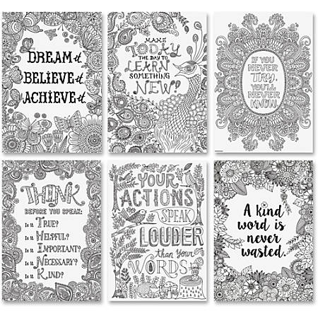 "Creative Teaching Press Color-Me Inspire U Posters - 13.4"" Width x 19"" Height - Black, White"