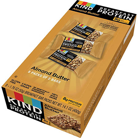 KIND Breakfast Protein Bars, Almond Butter, 1.76 Oz, Pack Of 8