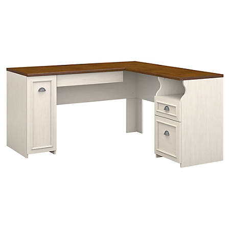 Bush Furniture Fairview L Shaped Desk Antique White Tea Maple Standard Delivery