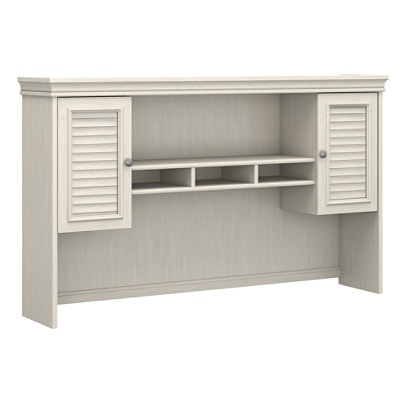 Bush Furniture Fairview Hutch for L Shaped Desk Antique White Standard  Delivery by Office Depot & OfficeMax - Bush Furniture Fairview Hutch For L Shaped Desk Antique White