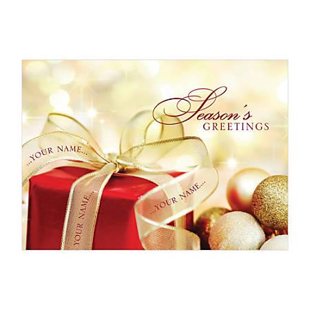 "Custom Embellished Holiday Cards And Foil Envelopes, 7-7/8"" x 5-5/8"", Golden Inspiration, Box Of 25 Cards"