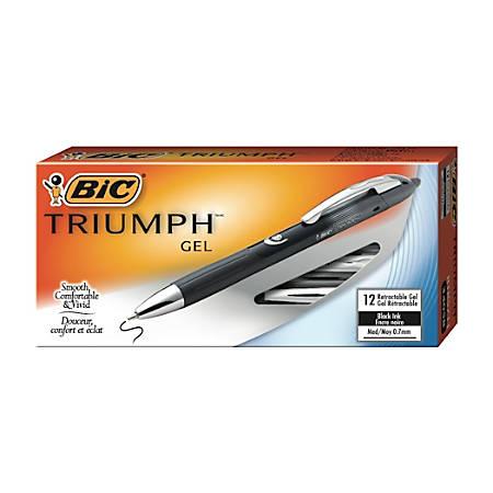 BIC® Triumph™ Retractable Gel Pens, Medium Point, 0.7 mm, Metallic Wrap Barrel, Black Ink, Pack Of 12 Pens