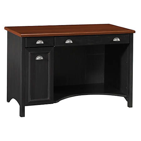 "Bush Furniture Stanford Computer Desk, 48""W, Antique Black/Hansen Cherry, Standard Delivery"