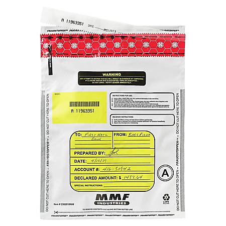 "MMF Industries Tamper-Evident Deposit Bags, 12"" x 16"", White, Box Of 100"