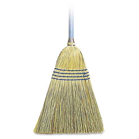 Genuine Joe Light Duty Broom - Corn Fiber Bristle - Lacquered Wood Handle - 12 / Carton