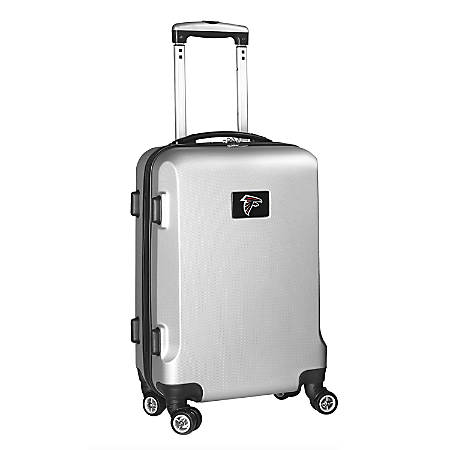 """Denco 2-In-1 Hard Case Rolling Carry-On Luggage, 21""""H x 13""""W x 9""""D, Atlanta Falcons, Silver"""