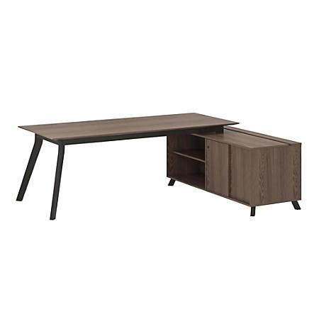 Ameriwood™ Home AX1 3-Piece Executive Desk And Storage Cabinet Set, Medium Brown