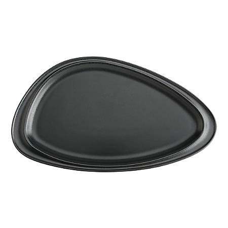 "Foundry Geo Ceramic Platters, 12 1/16"" x 6 7/8"", Matte Black, Pack Of 12 Platters"