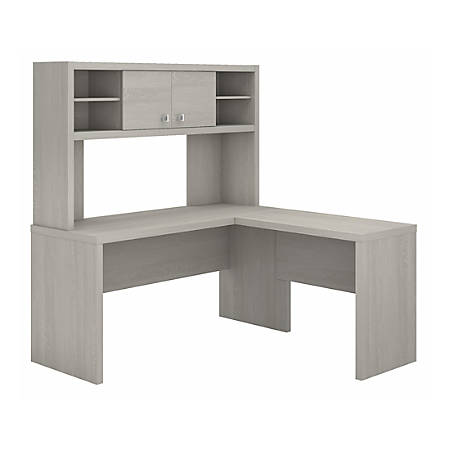kathy ireland® Office by Bush Business Furniture Echo L Shaped Desk With Hutch, Gray Sand, Premium Installation